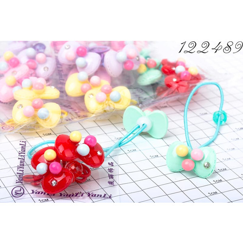 Резинки парные бантик с шариками /уп 2