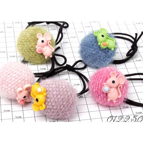 Резинки шарики вязаные с мышкой /уп 10