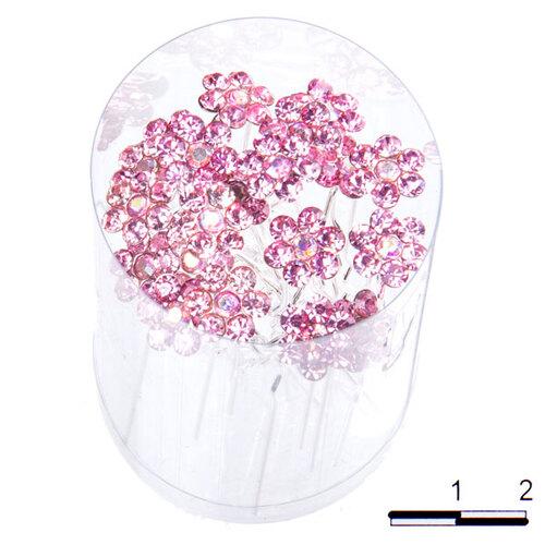 Шпильки цветочек б розовые /уп 20