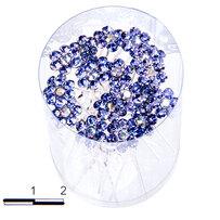 Шпильки цветочек б голубые /уп 20