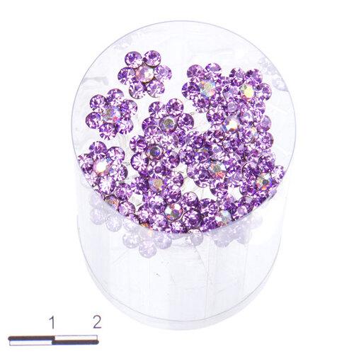 Шпильки цветочек б сиреневые /уп 20