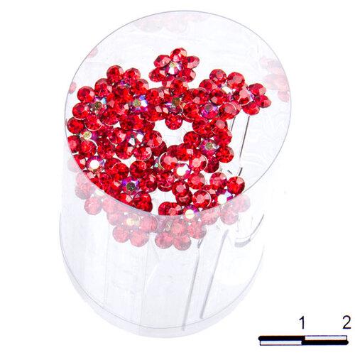 Шпильки цветочек б красные /уп 20