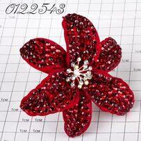 Шпильки Б цветок страз бордо