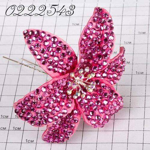 Шпильки Б цветок страз розовый