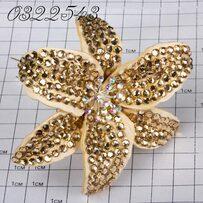 Шпильки Б цветок страз золотой