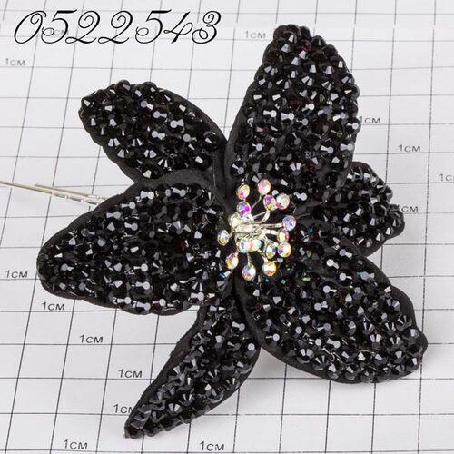 Шпильки Б цветок страз чёрный