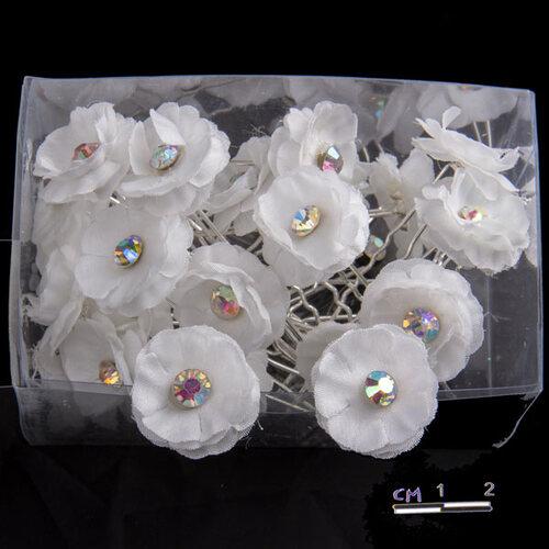 Шпильки цветок открытый, страз /уп 24