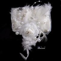 Шпильки цветок с пером /уп 12
