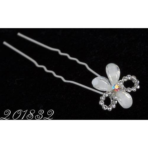 Шпильки цветок пластик с бантиком /уп 20