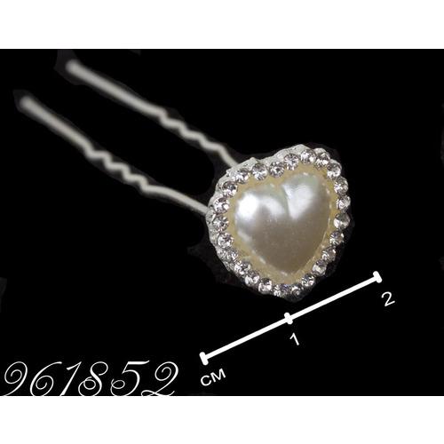 Шпильки сердце жемчуг с страз /уп 20