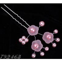 Шпильки пучки цветочки розовые /уп 10