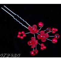 Шпильки пучки цветочки  красные