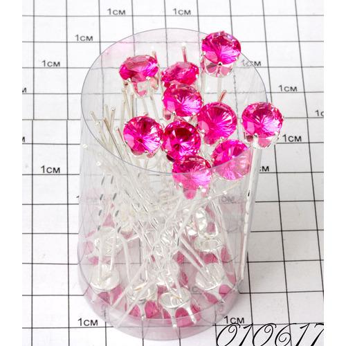 Шпильки кристалл на ножках розовый /уп 20