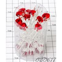 Шпильки кристалл на ножках красный /уп 20