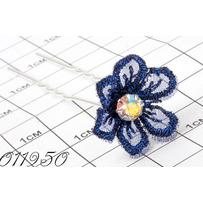 Шпильки цветок шитьё синий /уп 10