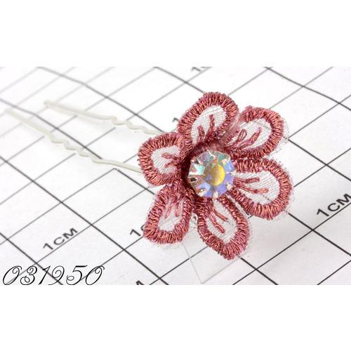 Шпильки цветок шитьё розовый /уп 10