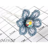 Шпильки цветок шитьё голубой /уп 10