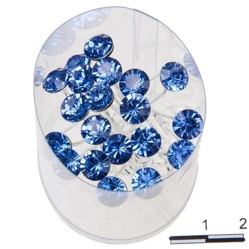 Шпильки Б. камень голубые  /уп 20