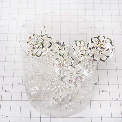 Шпильки металл цветочек /уп 20