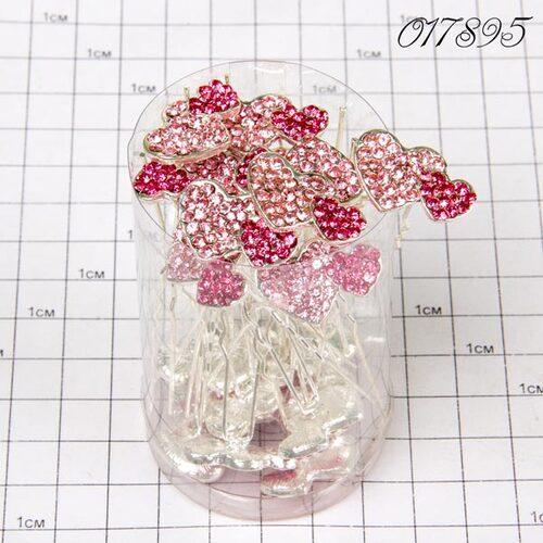 Шпильки сердечко двойное розовые